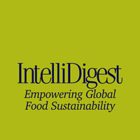 IntelliDigest logo on a green square with black type